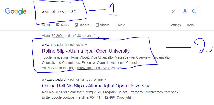 How to find AIOU Roll No Slip