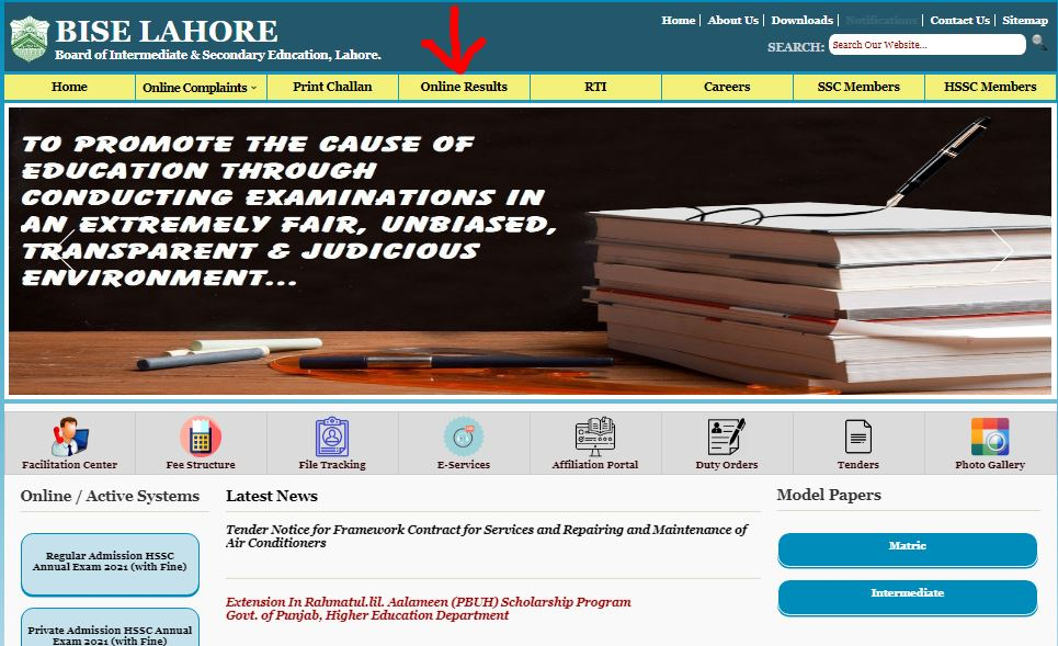 Bise Lahore Result checking
