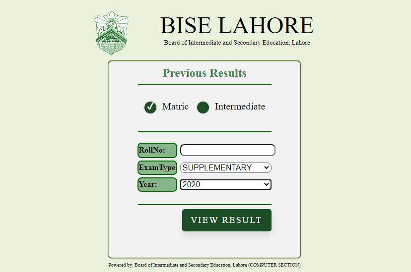 Lahore Board Result for Matric & Inter