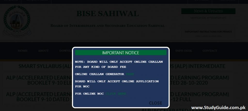 Notification of BISE Sahiwal Board